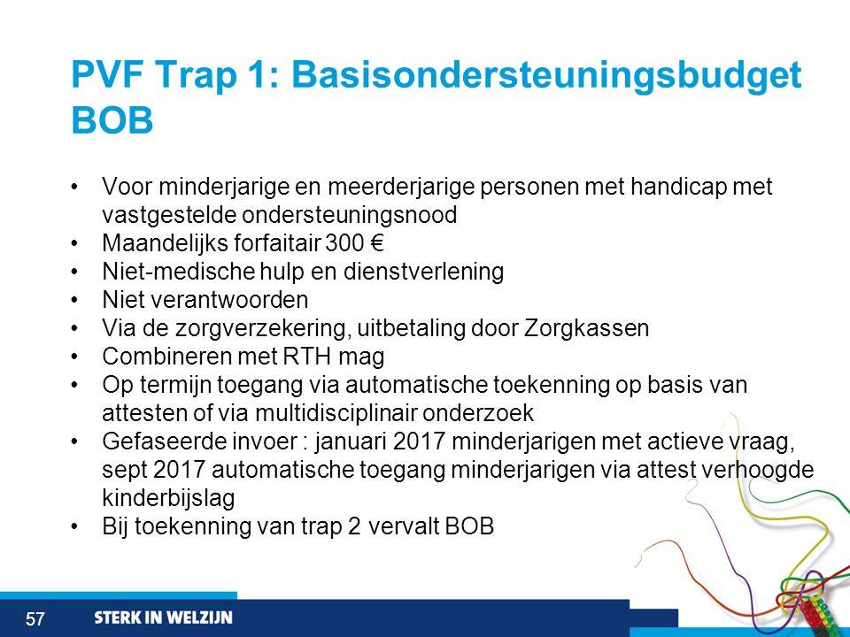 57 PVF Trap 1: Basisondersteuningsbudget BOB Voor minderjarige en meerderjarige personen met handicap met vastgestelde ondersteuningsnood Maandelijks
