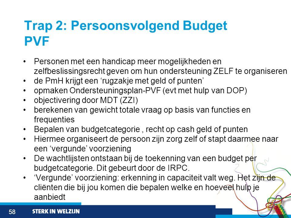 58 Trap 2: Persoonsvolgend Budget PVF Personen met een handicap meer mogelijkheden en zelfbeslissingsrecht geven om hun ondersteuning ZELF te organise