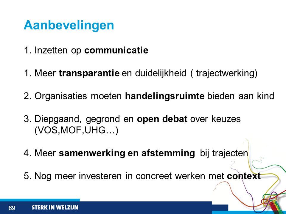 69 Aanbevelingen 1.Inzetten op communicatie 1.Meer transparantie en duidelijkheid ( trajectwerking) 2.Organisaties moeten handelingsruimte bieden aan