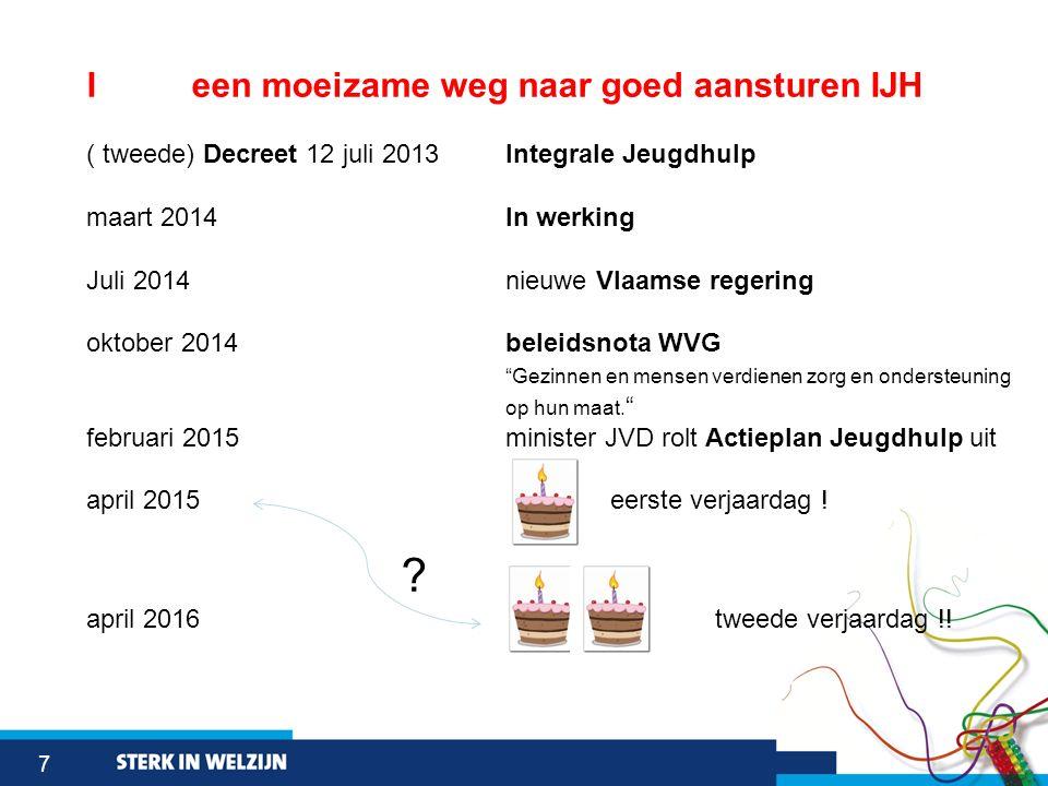 7 Ieen moeizame weg naar goed aansturen IJH ( tweede) Decreet 12 juli 2013 Integrale Jeugdhulp maart 2014 In werking Juli 2014 nieuwe Vlaamse regering