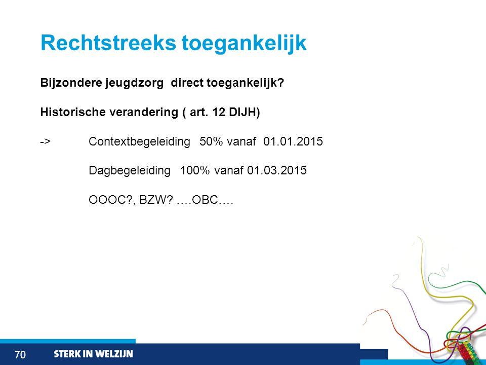 70 Rechtstreeks toegankelijk Bijzondere jeugdzorg direct toegankelijk? Historische verandering ( art. 12 DIJH) -> Contextbegeleiding 50% vanaf 01.01.2