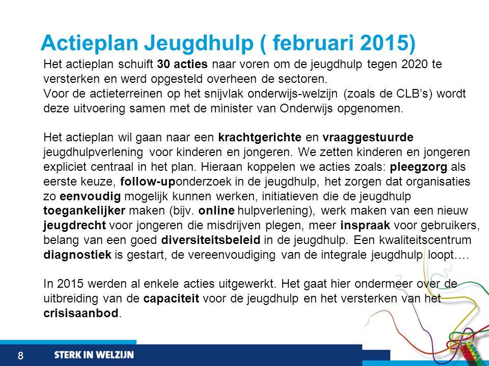 8 Actieplan Jeugdhulp ( februari 2015) Het actieplan schuift 30 acties naar voren om de jeugdhulp tegen 2020 te versterken en werd opgesteld overheen