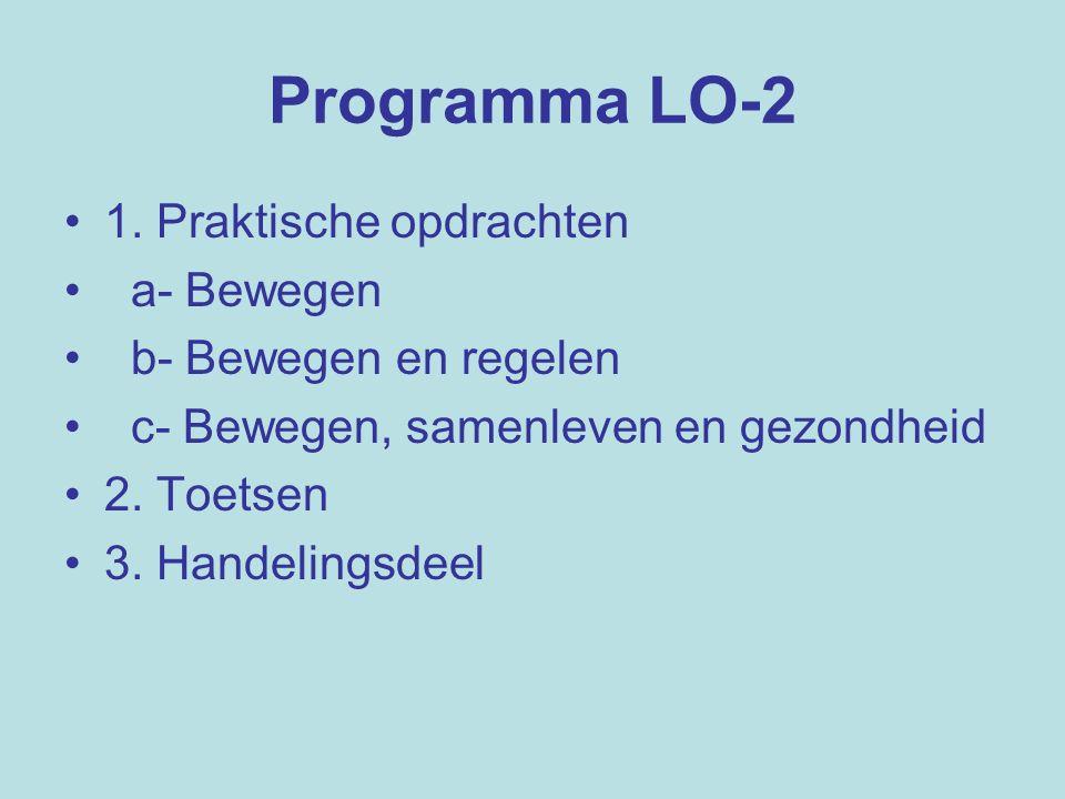 Programma LO-2 1. Praktische opdrachten a- Bewegen b- Bewegen en regelen c- Bewegen, samenleven en gezondheid 2. Toetsen 3. Handelingsdeel