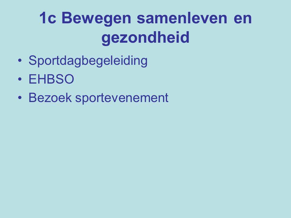 1c Bewegen samenleven en gezondheid Sportdagbegeleiding EHBSO Bezoek sportevenement