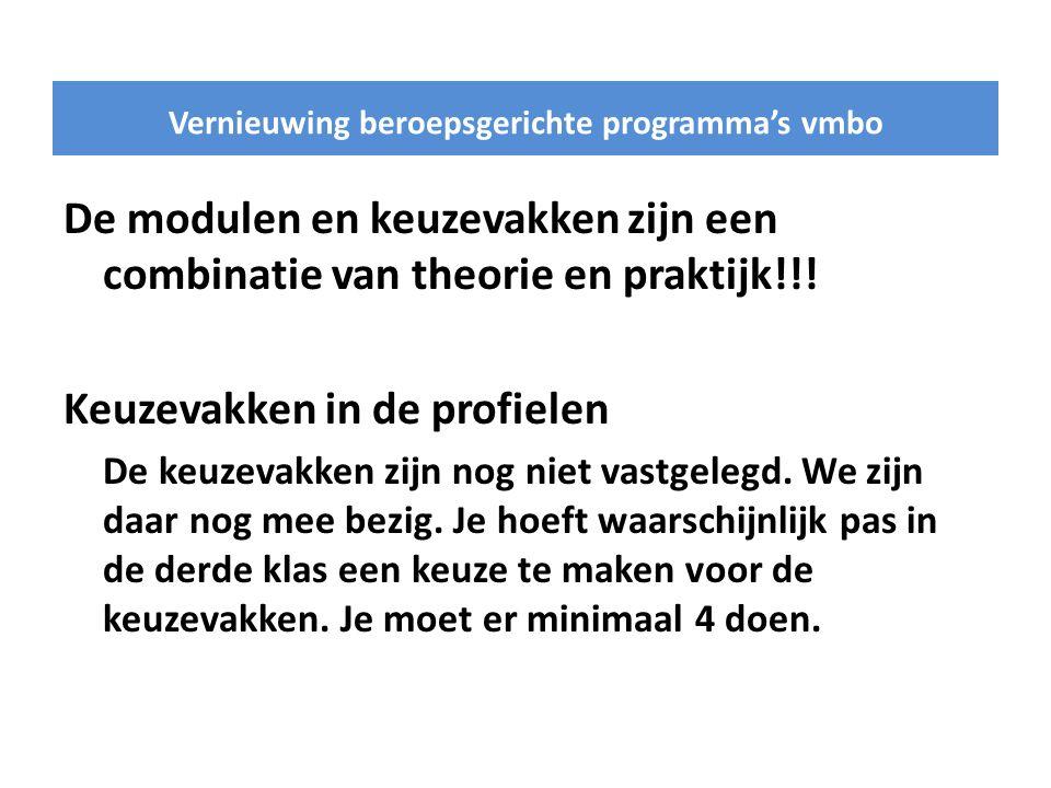 De modulen en keuzevakken zijn een combinatie van theorie en praktijk!!.