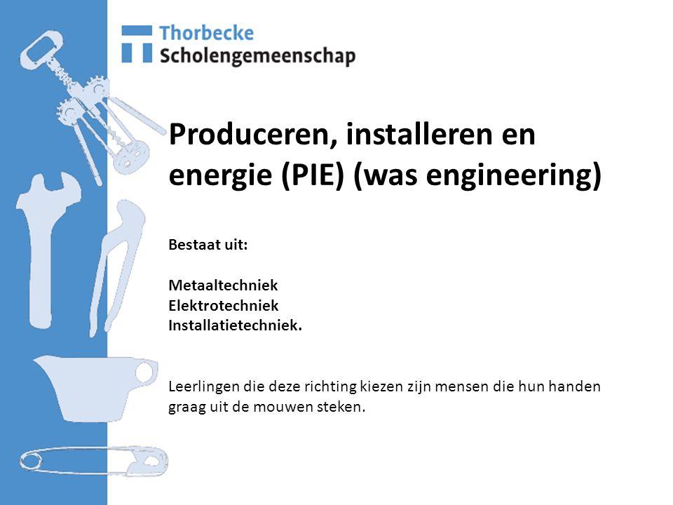 Produceren, installeren en energie (PIE) (was engineering) Bestaat uit: Metaaltechniek Elektrotechniek Installatietechniek.