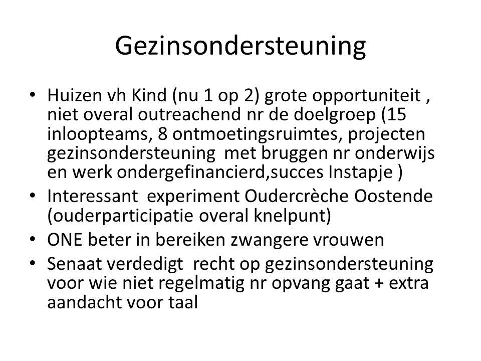 Onderwijs Warme overgang kinderopvang/onderwijs nodig (voorleesprojn, kennismakingsbezoeken) Verhoging kleuterparticipatie, vnml.