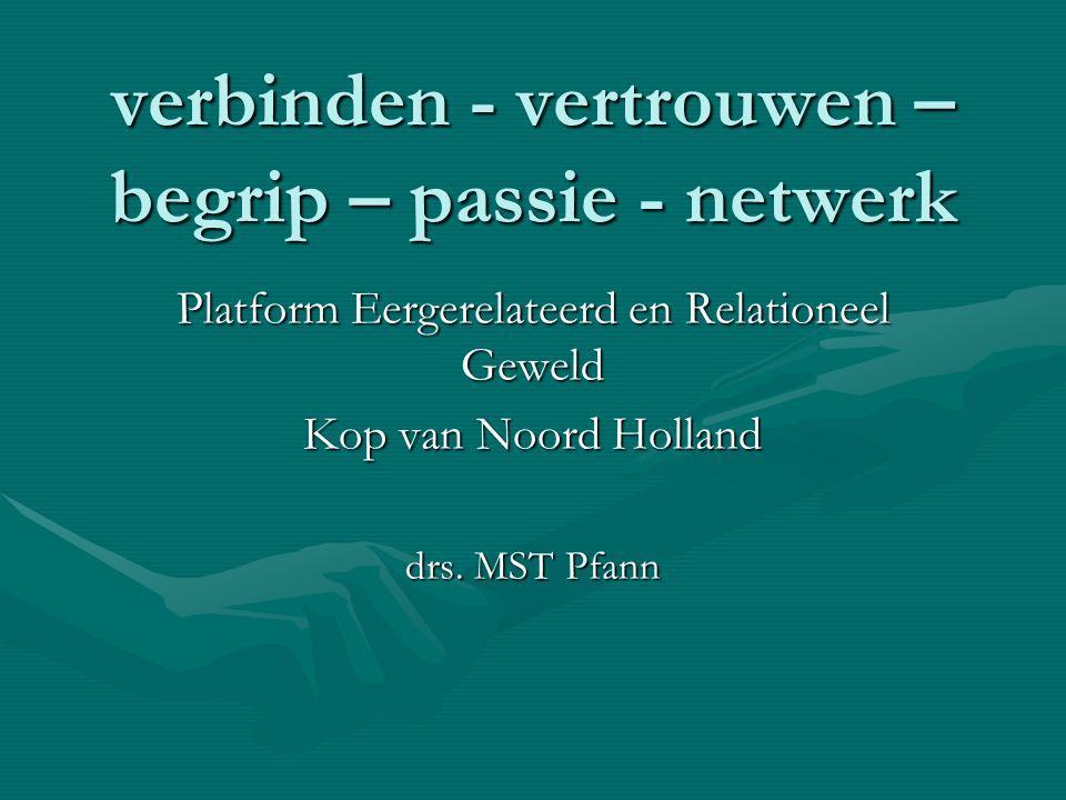 verbinden - vertrouwen – begrip – passie - netwerk Platform Eergerelateerd en Relationeel Geweld Kop van Noord Holland drs.