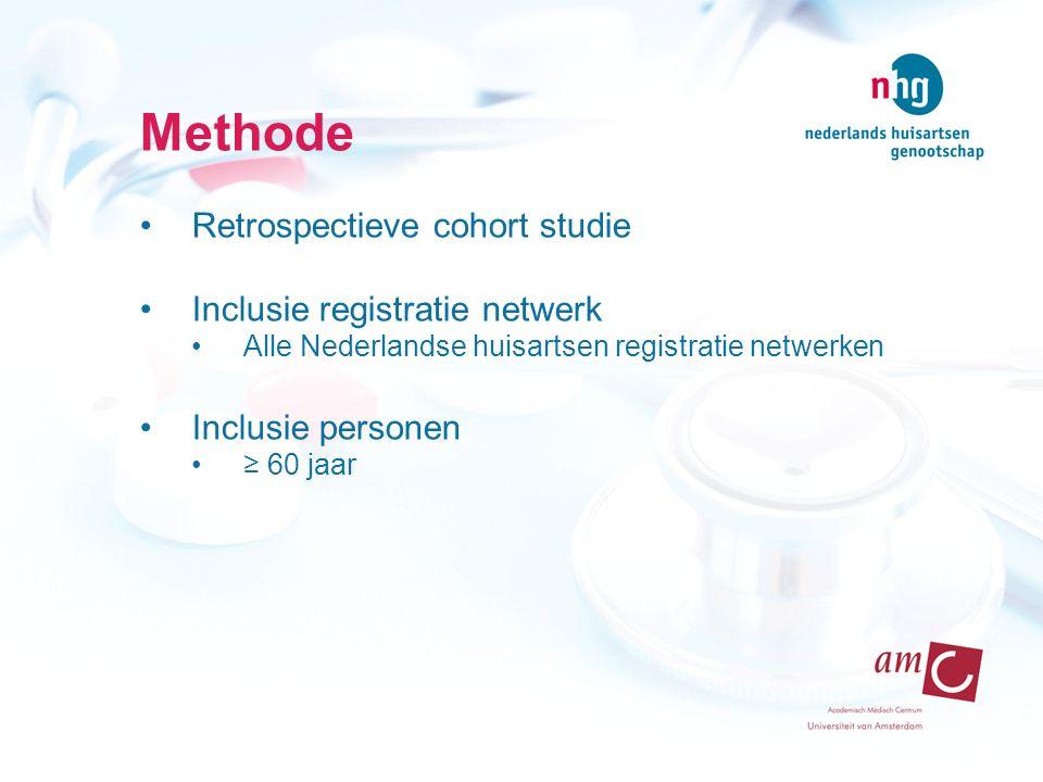 Methode Retrospectieve cohort studie Inclusie registratie netwerk Alle Nederlandse huisartsen registratie netwerken Inclusie personen ≥ 60 jaar