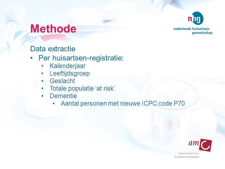 Methode Data extractie Per huisartsen-registratie: Kalenderjaar Leeftijdsgroep Geslacht Totale populatie 'at risk' Dementie Aantal personen met nieuwe ICPC code P70