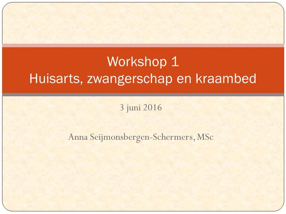 3 juni 2016 Anna Seijmonsbergen-Schermers, MSc Workshop 1 Huisarts, zwangerschap en kraambed
