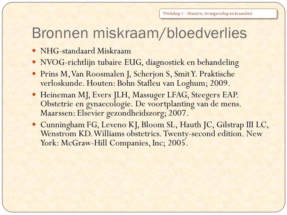 Bronnen miskraam/bloedverlies NHG-standaard Miskraam NVOG-richtlijn tubaire EUG, diagnostiek en behandeling Prins M, Van Roosmalen J, Scherjon S, Smit