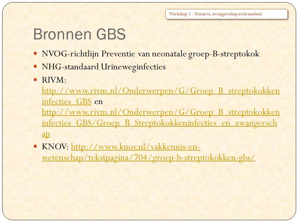 Bronnen GBS NVOG-richtlijn Preventie van neonatale groep-B-streptokok NHG-standaard Urineweginfecties RIVM: http://www.rivm.nl/Onderwerpen/G/Groep_B_streptokokken infecties_GBS en http://www.rivm.nl/Onderwerpen/G/Groep_B_streptokokken infecties_GBS/Groep_B_Streptokokkeninfecties_en_zwangersch ap http://www.rivm.nl/Onderwerpen/G/Groep_B_streptokokken infecties_GBS http://www.rivm.nl/Onderwerpen/G/Groep_B_streptokokken infecties_GBS/Groep_B_Streptokokkeninfecties_en_zwangersch ap KNOV: http://www.knov.nl/vakkennis-en- wetenschap/tekstpagina/704/groep-b-streptokokken-gbs/http://www.knov.nl/vakkennis-en- wetenschap/tekstpagina/704/groep-b-streptokokken-gbs/ Workshop 1 - Huisarts, zwangerschap en kraambed