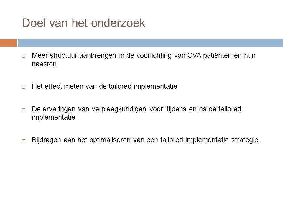 Doel van het onderzoek  Meer structuur aanbrengen in de voorlichting van CVA patiënten en hun naasten.