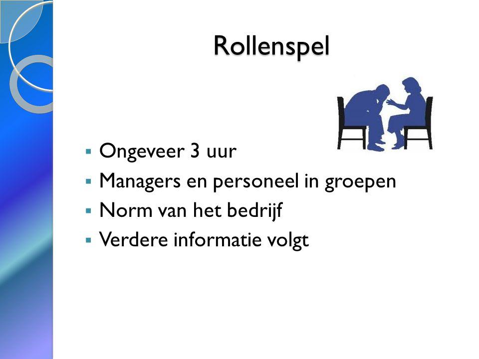Rollenspel  Ongeveer 3 uur  Managers en personeel in groepen  Norm van het bedrijf  Verdere informatie volgt