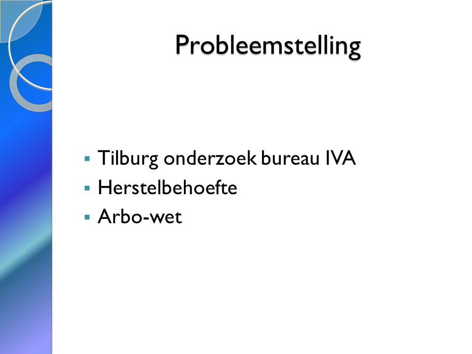  Tilburg onderzoek bureau IVA  Herstelbehoefte  Arbo-wet Probleemstelling
