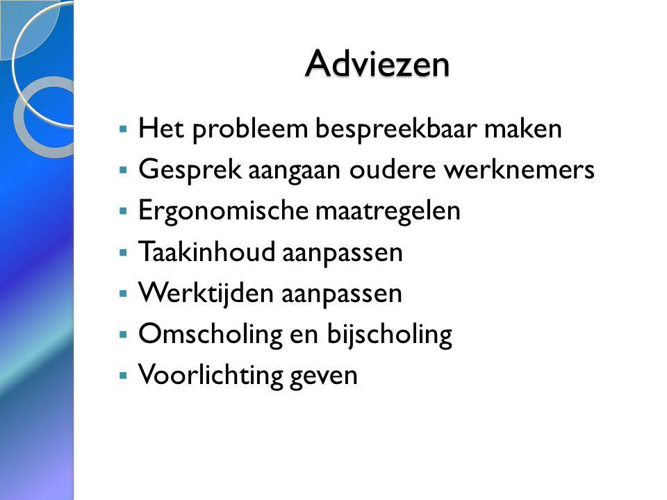 Bronnen  Sites:  www.wikifysio.nl/index.php/Oudere_werkenemers,_workability_en_herstelbehoefte  www.wikifysio.nl/index.php/Ouderen_en_werk  www.medicalfacts.nl/2011/03/17/hoge-werkdruk-is-belangrijkste-bezwaar-tegen-werken- in-de-zorg/  http://www.nu.nl/werk-en-prive/2469845/oudere-werknemers-in-ziekenhuizen-draaien- meeste-nachtdiensten.html  http://wetten.overheid.nl/BWBR0006835/geldigheidsdatum_27-02-2011  http://www.arboportaal.nl/onderwerpen/psychosociale-belasting/seksuele- intimidatie.html  http://www.loopbaanadvies.net/werk/seksueleintimidatie.php  Bron: http://www.arbeidsrechter.nl/seksuele-intimidatie-werkgever-werknemer-klacht- ontslag/  http://www.senior-power.nl/img/informatie/STECR_oudewerkenmer.pdf  http://www.mkbservicedesk.nl/3155/hoe-met-oudere-werknemers.htm  http://www.integriteitoverheid.nl/opleidingen/opleiding-vpi.html  http://www.bezemer-kuiper.nl/usrdoc/IC-Mediation45ae3dafa64a.pdf  CAO Verpleeg- Verzorgtehuizen en Thuiszorg 2008-2010  Arbo- wet