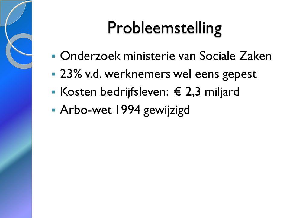 Probleemstelling  Onderzoek ministerie van Sociale Zaken  23% v.d.