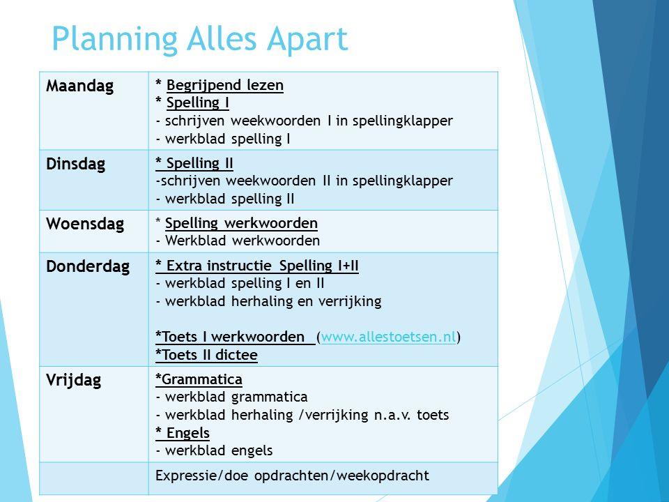 Planning Alles Apart Maandag * Begrijpend lezen * Spelling I - schrijven weekwoorden I in spellingklapper - werkblad spelling I Dinsdag * Spelling II