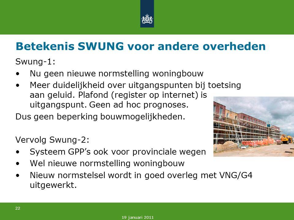 22 19 januari 2011 Betekenis SWUNG voor andere overheden Swung-1: Nu geen nieuwe normstelling woningbouw Meer duidelijkheid over uitgangspunten bij toetsing aan geluid.