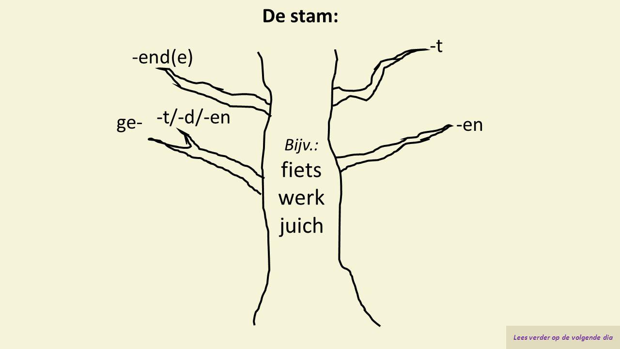 De stam: Bijv.: fiets werk juich -t -en -end(e) ge- -t/-d/-en Lees verder op de volgende dia