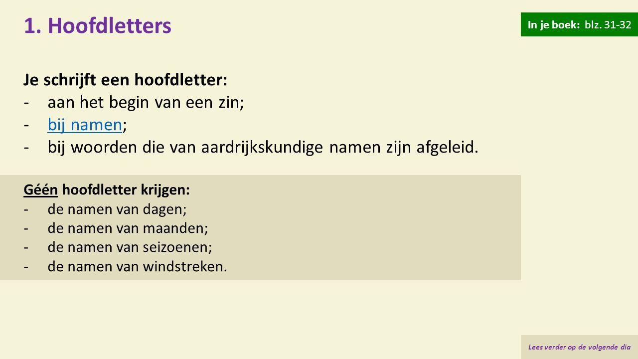 Hoofdletters bij tussenvoegsels bij namen: -zonder hoofdletter als ze tussen iemands naam of voorletter(s) en achternaam staan: Jan van der Zwan J.