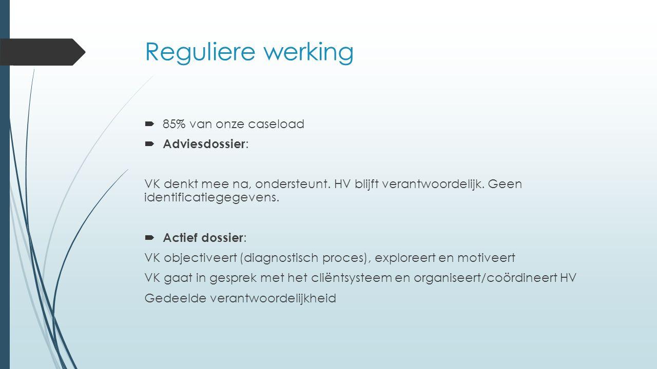 Reguliere werking  85% van onze caseload  Adviesdossier : VK denkt mee na, ondersteunt.