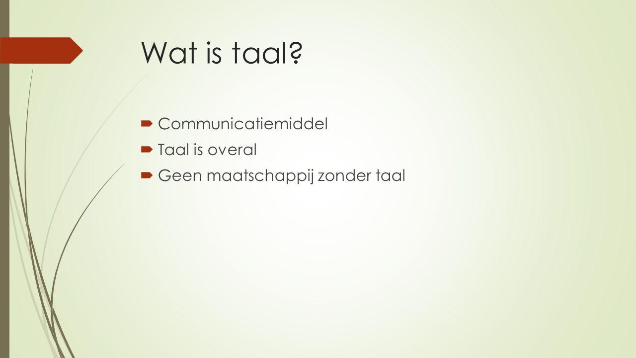 Wat is taal  Communicatiemiddel  Taal is overal  Geen maatschappij zonder taal