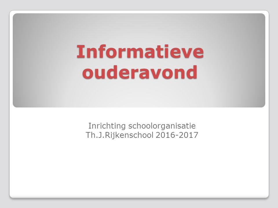 Informatieve ouderavond Inrichting schoolorganisatie Th.J.Rijkenschool 2016-2017