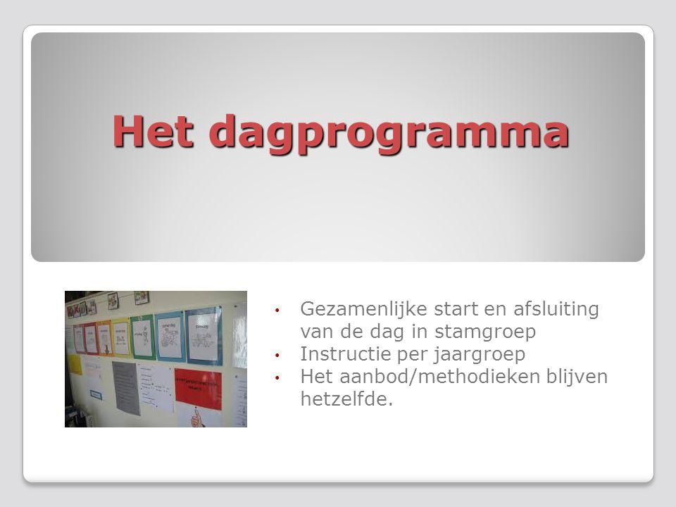 Het dagprogramma Gezamenlijke start en afsluiting van de dag in stamgroep Instructie per jaargroep Het aanbod/methodieken blijven hetzelfde.