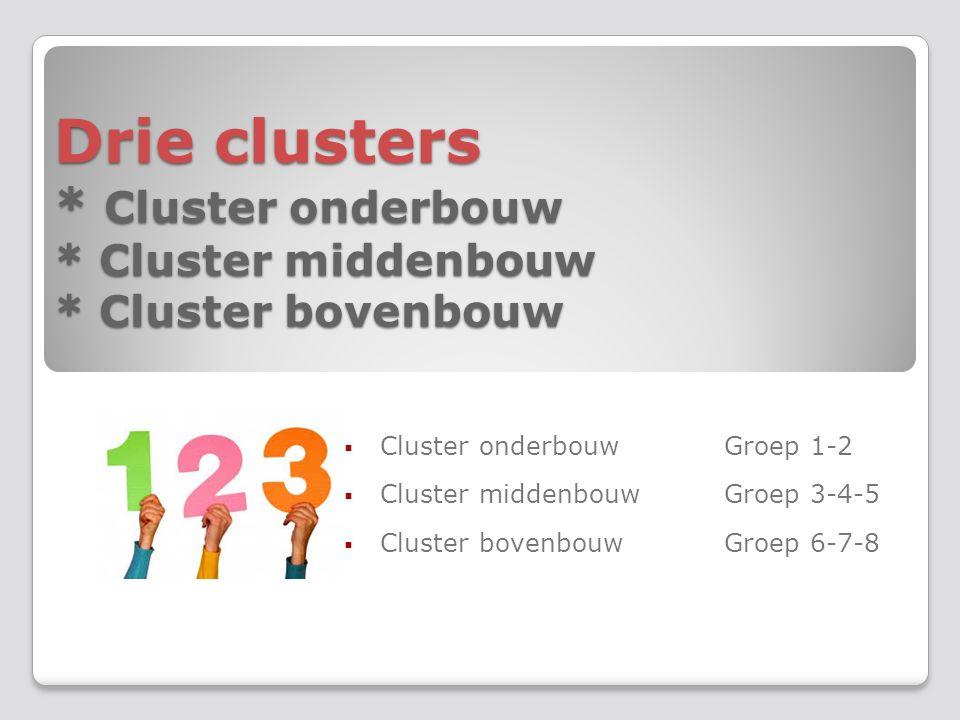 Drie clusters * Cluster onderbouw * Cluster middenbouw * Cluster bovenbouw Drie clusters * Cluster onderbouw * Cluster middenbouw * Cluster bovenbouw  Cluster onderbouwGroep 1-2  Cluster middenbouwGroep 3-4-5  Cluster bovenbouwGroep 6-7-8
