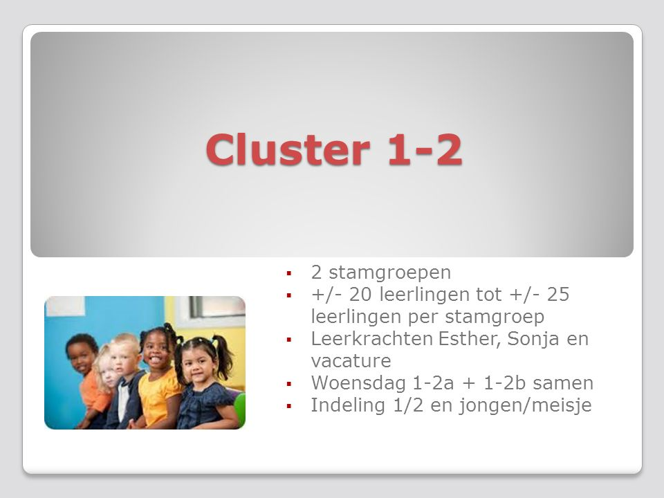 Cluster 3-4-5  2 stamgroepen  +/-27 leerlingen per stamgroep  Leerkrachten Annelies, Jeannie, Sheila en vacature  Indeling op basis van leeftijd