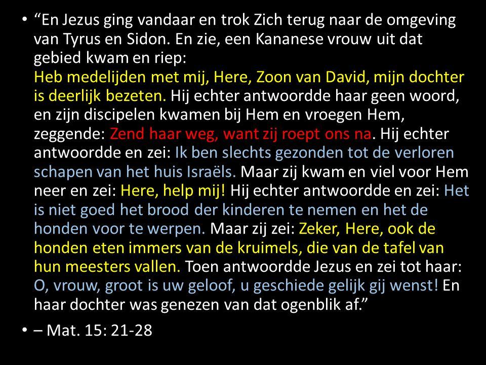 En Jezus ging vandaar en trok Zich terug naar de omgeving van Tyrus en Sidon.