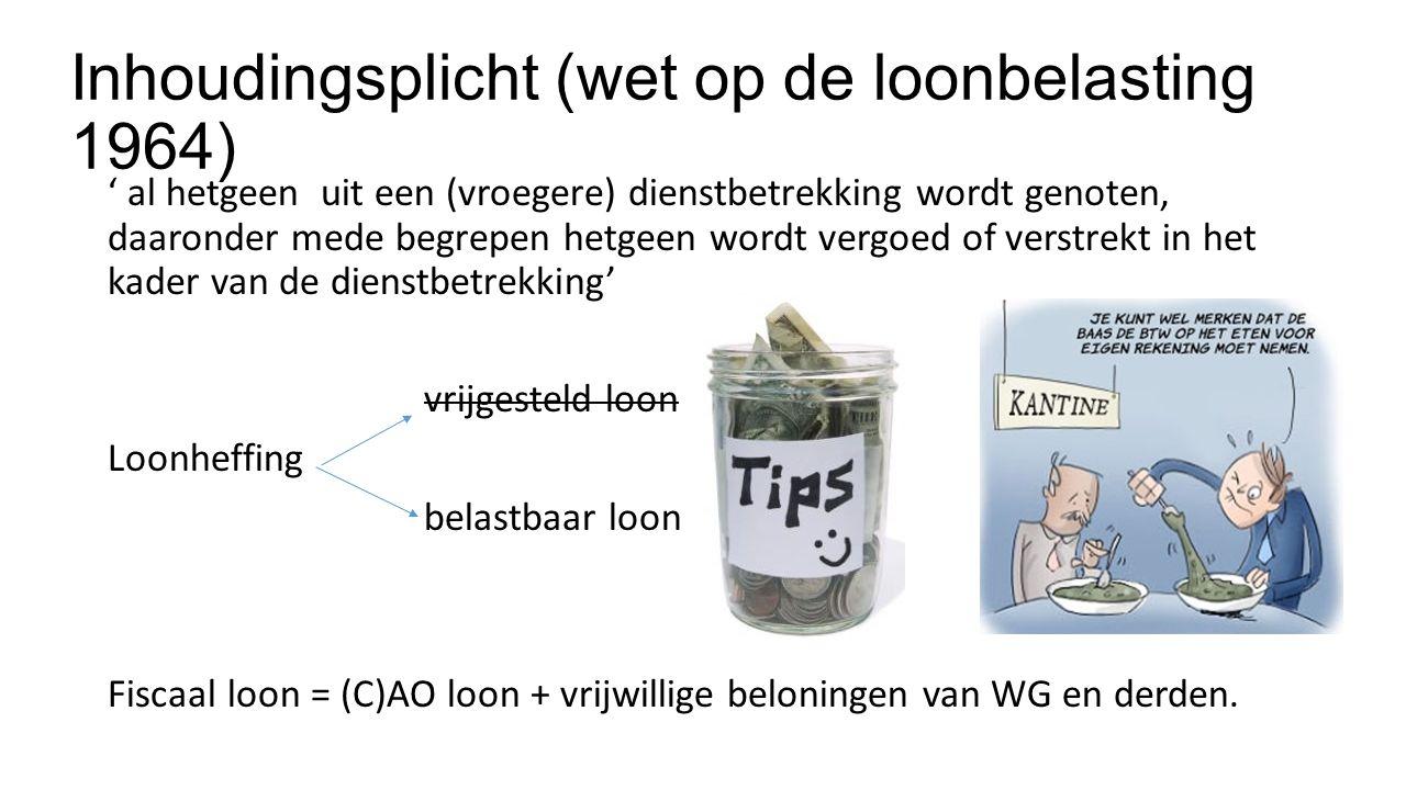 Inhoudingsplicht (wet op de loonbelasting 1964) ' al hetgeen uit een (vroegere) dienstbetrekking wordt genoten, daaronder mede begrepen hetgeen wordt