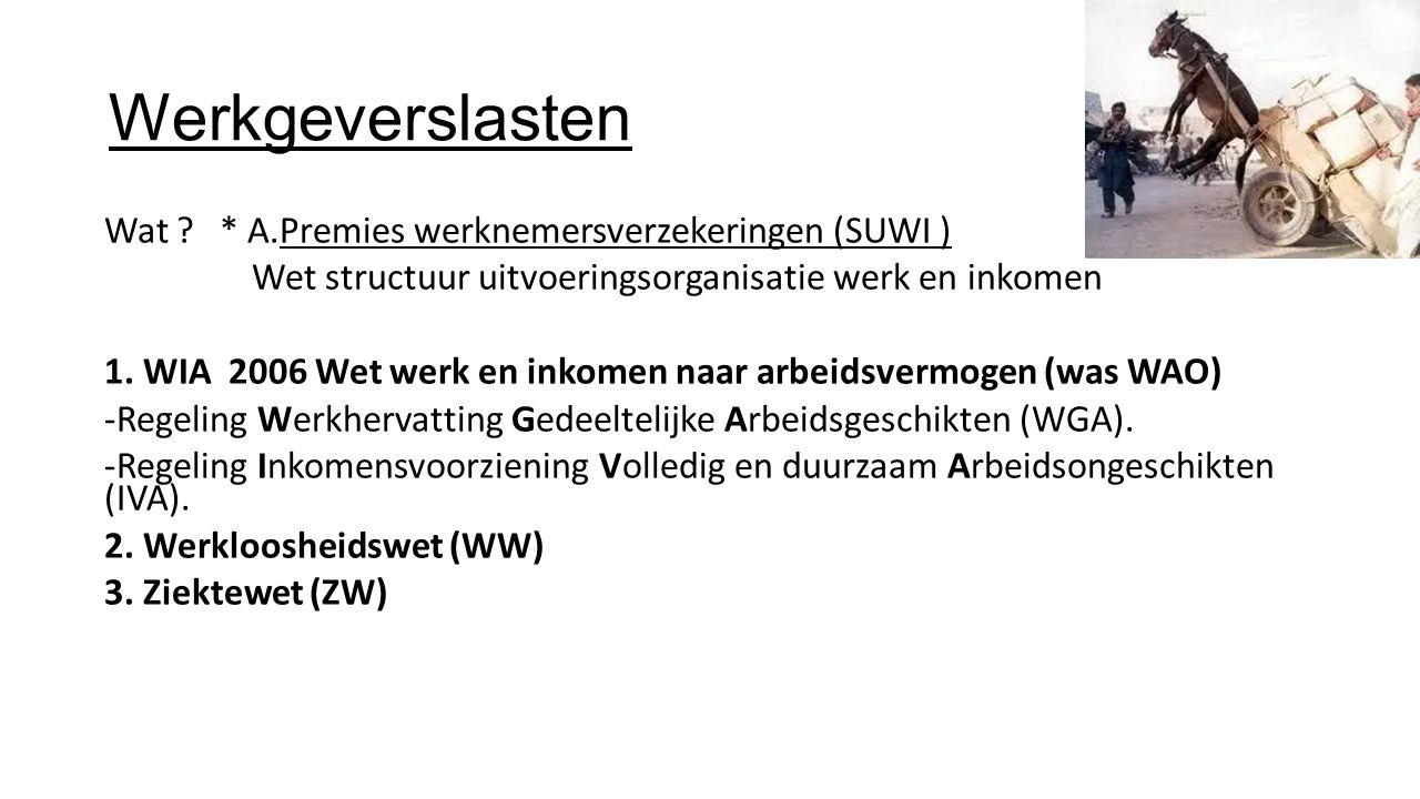 Werkgeverslasten Wat ? * A.Premies werknemersverzekeringen (SUWI ) Wet structuur uitvoeringsorganisatie werk en inkomen 1. WIA 2006 Wet werk en inkome