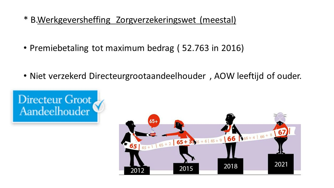 * B.Werkgeversheffing Zorgverzekeringswet (meestal) Premiebetaling tot maximum bedrag ( 52.763 in 2016) Niet verzekerd Directeurgrootaandeelhouder, AO