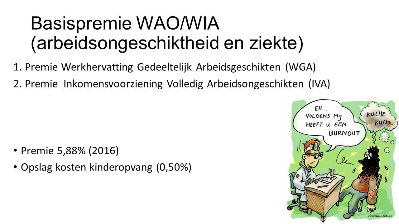 Basispremie WAO/WIA (arbeidsongeschiktheid en ziekte) 1. Premie Werkhervatting Gedeeltelijk Arbeidsgeschikten (WGA) 2. Premie Inkomensvoorziening Voll