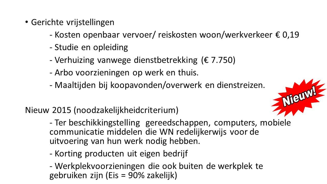 Gerichte vrijstellingen - Kosten openbaar vervoer/ reiskosten woon/werkverkeer € 0,19 - Studie en opleiding - Verhuizing vanwege dienstbetrekking (€ 7