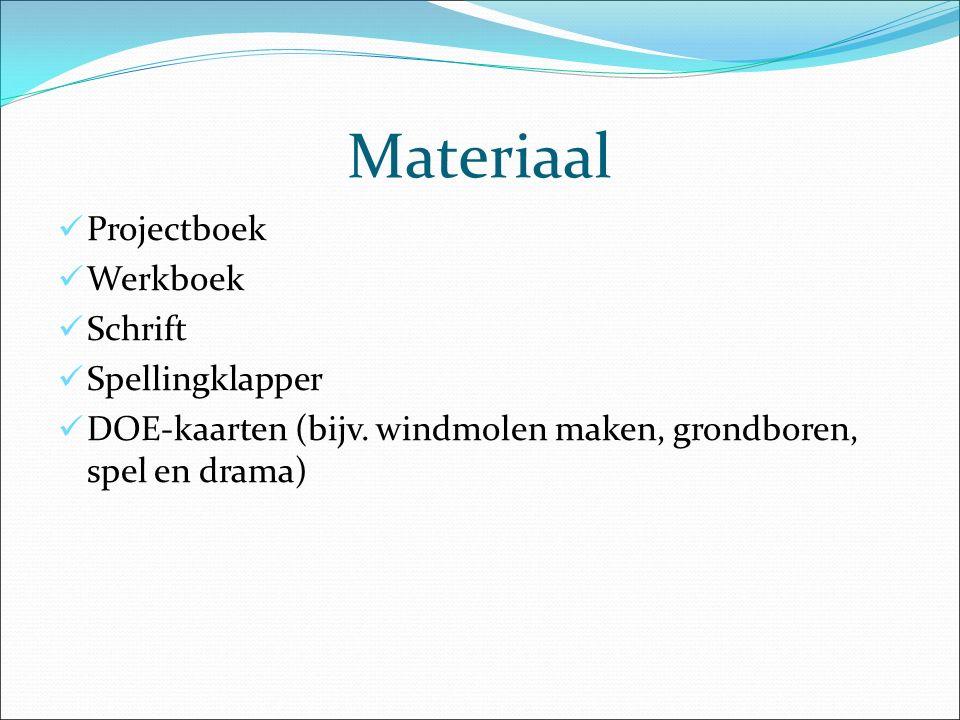 Materiaal Projectboek Werkboek Schrift Spellingklapper DOE-kaarten (bijv. windmolen maken, grondboren, spel en drama)