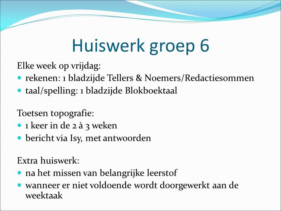 Huiswerk groep 6 Elke week op vrijdag: rekenen: 1 bladzijde Tellers & Noemers/Redactiesommen taal/spelling: 1 bladzijde Blokboektaal Toetsen topografi