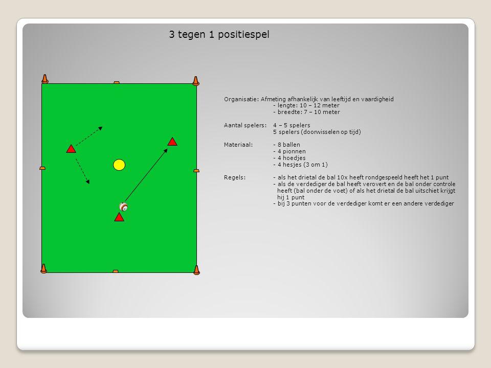 Organisatie: Afmeting afhankelijk van leeftijd en vaardigheid - lengte: 10 – 12 meter - breedte: 7 – 10 meter Aantal spelers:4 – 5 spelers 5 spelers (doorwisselen op tijd) Materiaal:- 8 ballen - 4 pionnen - 4 hoedjes - 4 hesjes (3 om 1) Regels:- als het drietal de bal 10x heeft rondgespeeld heeft het 1 punt - als de verdediger de bal heeft verovert en de bal onder controle heeft (bal onder de voet) of als het drietal de bal uitschiet krijgt hij 1 punt - bij 3 punten voor de verdediger komt er een andere verdediger 3 tegen 1 positiespel