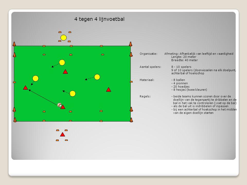 4 tegen 4 lijnvoetbal Organisatie:Afmeting: Afhankelijk van leeftijd en vaardigheid Lengte: 20 meter Breedte: 40 meter Aantal spelers: 8 - 10 spelers 9 of 10 spelers (doorwisselen na elk doelpunt, achterbal of hoekschop Materiaal: - 8 ballen - 4 pionnen - 20 hoedjes - 8 hesjes (twee kleuren) Regels: - beide teams kunnen scoren door over de doellijn van de tegenpartij te dribbelen en de bal in het vak te controleren (voet op de bal) - als de bal uit is indribbelen of inpassen - bij een achterbal of hoekschop in het midden van de eigen doellijn starten