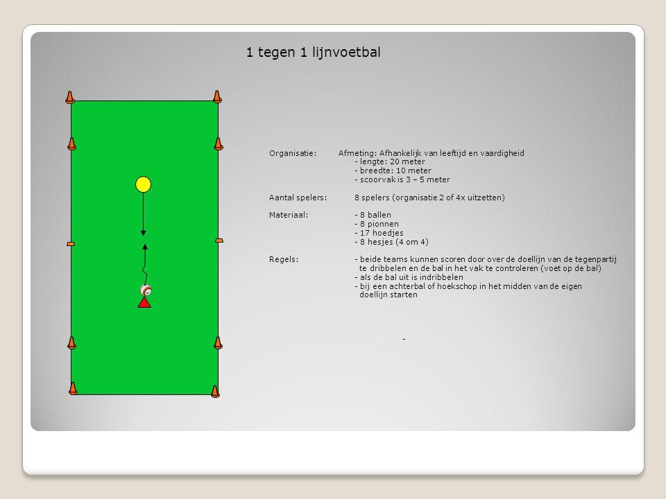 Organisatie: Afmeting: Afhankelijk van leeftijd en vaardigheid - lengte: 25 - 30 meter - breedte: 12 - 18 meter Aantal spelers: 9 spelers 10 spelers (doorwisselen bij de verdedigers) Materiaal: - 8 ballen - 4 pionnen - 10 hoedjes - 8 hesjes (5 om 3) Regels: - als het zestal de bal 10x heeft rondgespeeld heeft het 1 punt - als de verdedigers de bal veroveren en de bal onder controle hebben (bal onder de voet) buiten de korte zijde dribbelen of als het zestal de bal uitschiet krijgen ze 1 punt - bij 3 punten voor de drietal komen er drie andere verdedigers - 6 tegen 3 positiespel