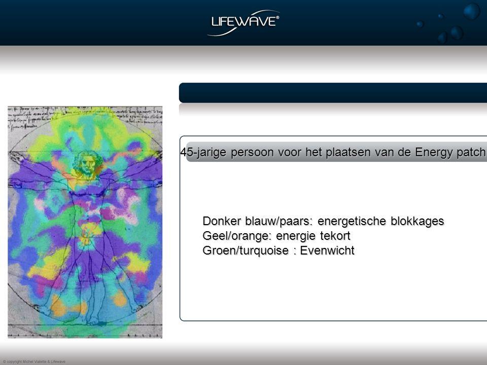 45-jarige persoon voor het plaatsen van de Energy patch Donker blauw/paars: energetische blokkages Geel/orange: energie tekort Groen/turquoise : Evenwicht