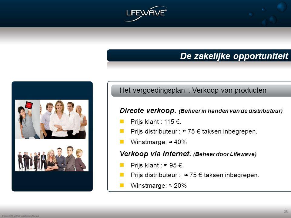 38 De zakelijke opportuniteit Het vergoedingsplan : Verkoop van producten Prijs klant : 115 €.