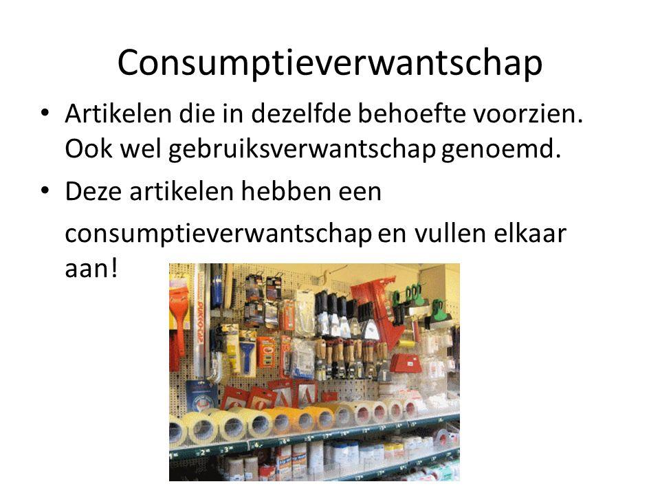 Consumptieverwantschap Artikelen die in dezelfde behoefte voorzien. Ook wel gebruiksverwantschap genoemd. Deze artikelen hebben een consumptieverwants