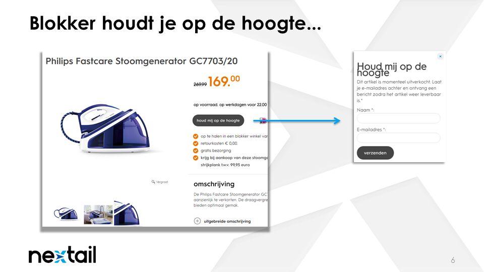 ...via de e-mail 7 De e-mail wordt dynamisch gevuld met data uit het datamodel (onderwerpsregel, url, productnaam en –afbeelding).