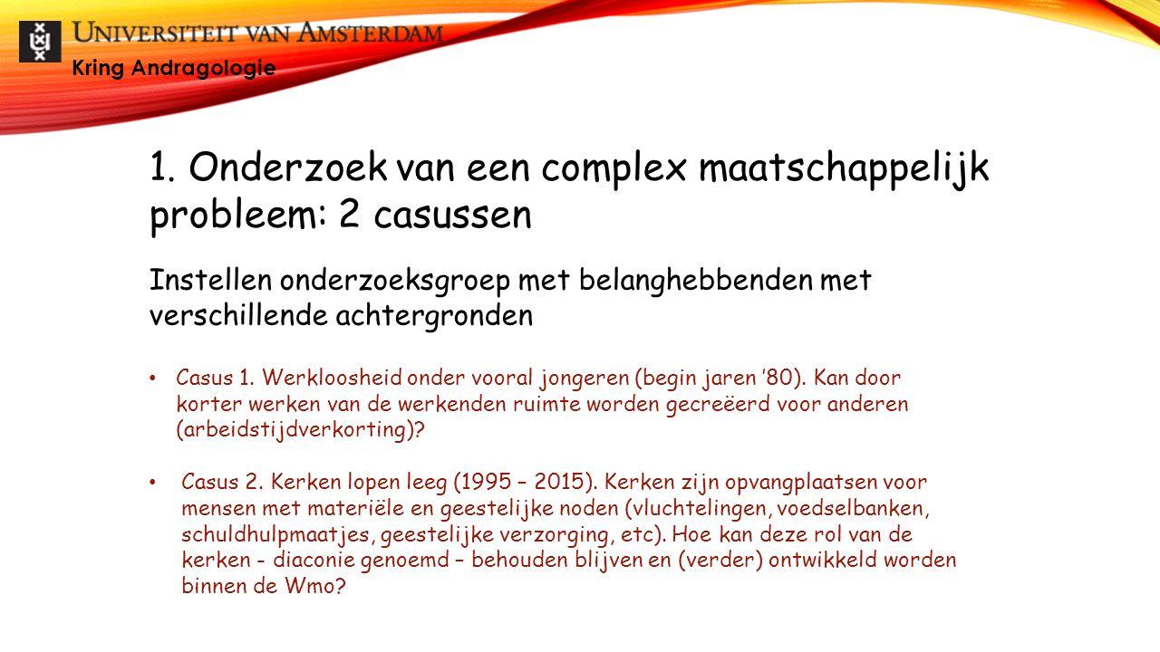 1. Onderzoek van een complex maatschappelijk probleem: 2 casussen Casus 1. Werkloosheid onder vooral jongeren (begin jaren '80). Kan door korter werke