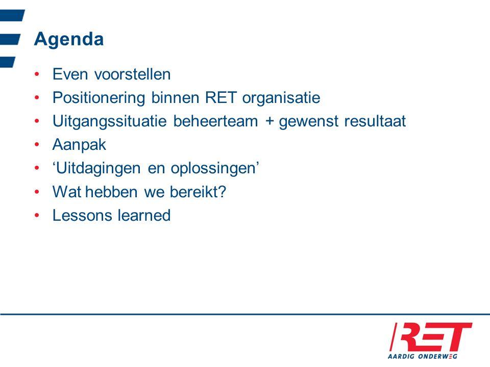 Agenda Even voorstellen Positionering binnen RET organisatie Uitgangssituatie beheerteam + gewenst resultaat Aanpak 'Uitdagingen en oplossingen' Wat hebben we bereikt.