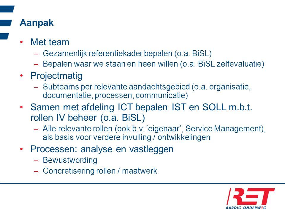Aanpak Met team –Gezamenlijk referentiekader bepalen (o.a. BiSL) –Bepalen waar we staan en heen willen (o.a. BiSL zelfevaluatie) Projectmatig –Subteam